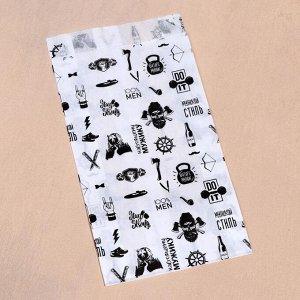 """Пакет бумажный, крафт, """"Настоящему мужику"""", V-образное дно, белый, 20 х 11 х 3,5"""