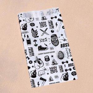 """Пакет бумажный, крафт, """"Мужику"""", V-образное дно, белый, 20 х 11 х 3,5 см"""
