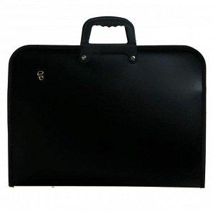 Папка для чертежей и рисунков A3 (425 x 305 мм) пластиковая, на молнии с трех сторон, с внутренним карманом, с внутренними удерживающими резинками на пряжке, с регулируемым ремнем через плечо, с пласт