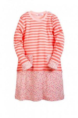 Платьице для девочки персиковое в полосочку