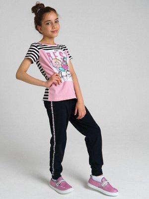 Комплект трикотажный для девочек: фуфайка (футболка), брюки
