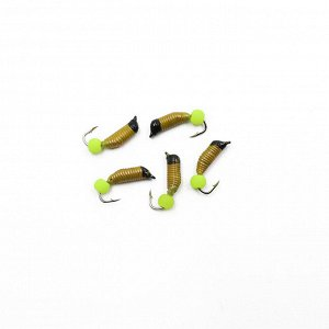 "Мормышка вольф. безнасадочная ""ЯМАН"" Ручейник №2, d-1.5 мм, L-7 мм, вес 0,33 гр., фц. желтый шар, цв. желтый (уп. 5 шт.)"