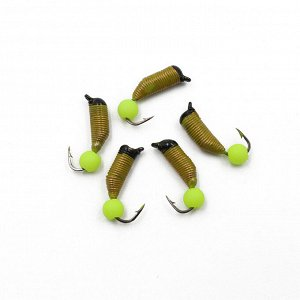 "Мормышка вольф. безнасадочная ""ЯМАН"" Ручейник №7, d-2.5 мм, L-9.5 мм, вес 0,95 гр., фц. желтый шар, цв. желтый (уп. 5 шт.)"
