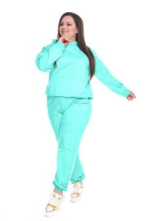 Брюки-5882 Модель брюк: Спортивные; Материал: Трикотаж; Цвет: Зеленый; Фасон: Брюки; Параметры модели: Рост 168 см, Размер 54 Брюки спортивные трикотажные мята (двухнитка)           &nbsp