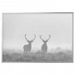BJÖRKSTA БЬЁРКСТА Картина с рамой, Олени в тумане/цвет алюминия200x140 см
