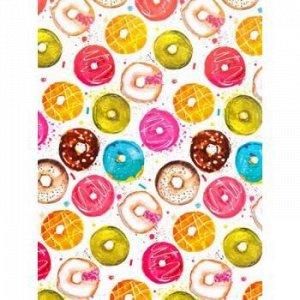"""Бумага упаковочная  70х100 см """"Пончики в глазури"""" 80 г/м2 мелованная с двух сторон 81063 Феникс-Презент {Китай}"""