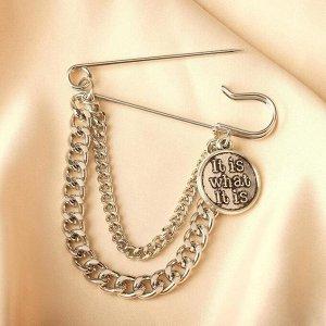 """Булавка с подвесками """"Медальон"""", 6,5см, цвет чернёное серебро"""