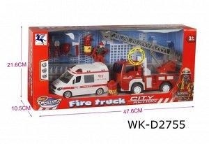 Игровой набор Junfa Служба спасения (пожарная машина, скорая помощь, фигурка пожарного, акссесуары), со световыми и звуковыми эффектами, в коробке85