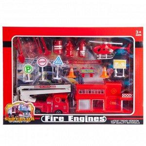 Игровой набор Junfa Пожарная станция (машинка, станция, акссесуары), в коробке464