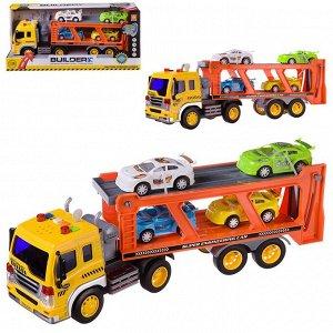"""Машинка """"Автовоз с 4 машинками"""", набор, инерционная, световые и звуковые эффекты, 42x11,5x19,5см436"""
