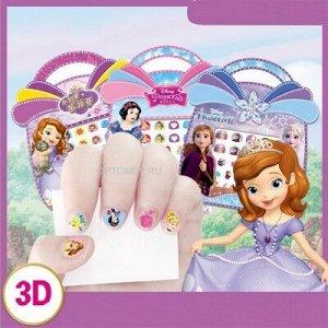 Наклейки для ногтей детские, набор стиков разной формы с героями мультфильмов, в ассортименте