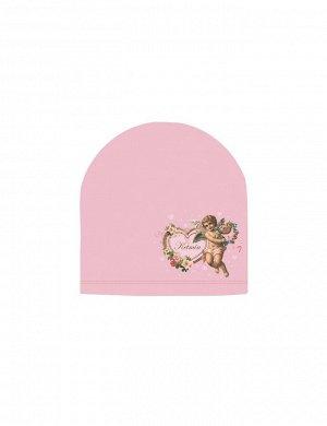 Шапка детская трикотажная KETMIN тк.Кулирка цв. Розовый с принтом Ангел
