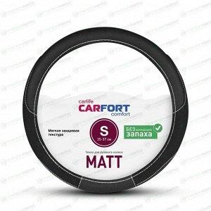 Оплетка на руль CARFORT MATT, кожа, черный цвет, размер S (35-37см)