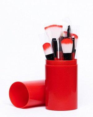 Набор  кистей для макияжа в тубусе 12шт, красные