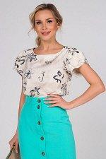 Блузка Мелисса №81. Цвет:бежевый/цветы