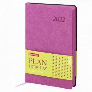 """Ежедневник датированный 2022 А5 138x213 мм BRAUBERG """"Stylish"""", под кожу, розовый, 112790"""