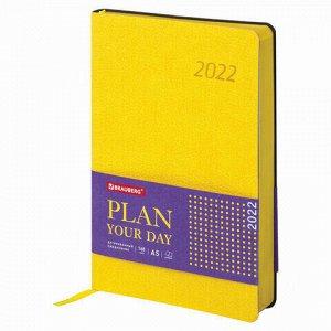 "Ежедневник датированный 2022 А5 138x213 мм BRAUBERG ""Stylish"", под кожу, желтый, 112792"