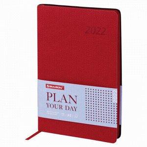 """Ежедневник датированный 2022 А5 138x213 мм BRAUBERG """"Stylish"""", под кожу, красный, 112794"""