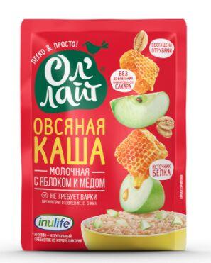 """Овсяная молочная каша быстрого приготовления """"Ол`лайт"""" с яблоком и медом"""
