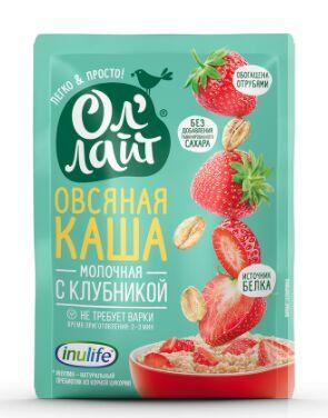 """Овсяная молочная каша быстрого приготовления """"Ол`лайт"""" с клубникой"""