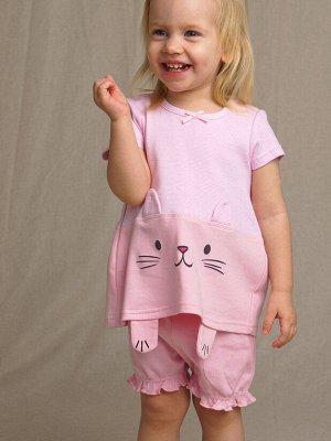 Комплект детский трикотажный для девочек: фуфайка (футболка), шорты