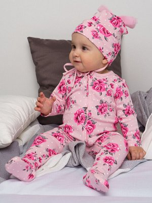Комплект детский трикотажный для девочек: боди, комбинезон, шапочка