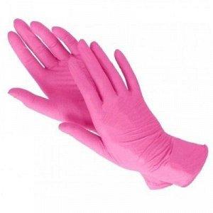 Перчатки нитриловые розовые