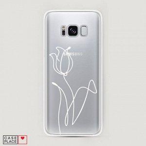 Силиконовый чехол Роза линия на Samsung Galaxy S8