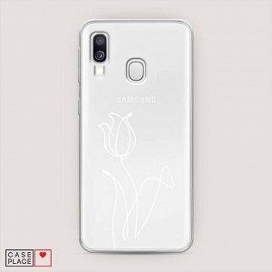 Силиконовый чехол Роза линия на Samsung Galaxy A40