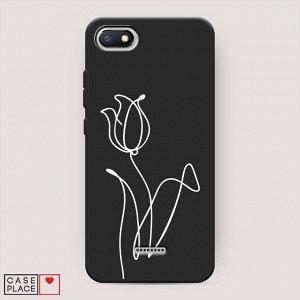 Матовый силиконовый чехол Роза линия на Xiaomi Redmi 6A