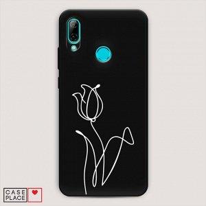 Матовый силиконовый чехол Роза линия на Huawei P Smart 2019