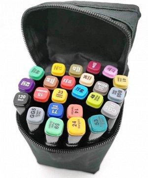 Маркеры двусторонние в сумке, 24 шт в ассортименте