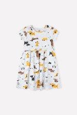 Платье(Осень-Зима)+girls (св.серый меланж, собачки к1272)