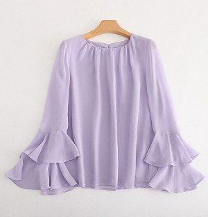 Женская блуза с длинным рукавом, цвет сиреневый