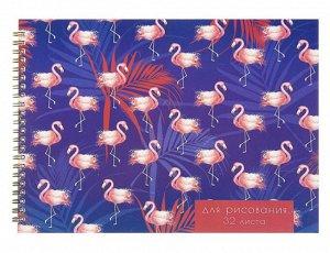 Альбом для рисования А4, 32 листа на гребне Calligrata «Фламинго», обложка мелованный картон, блок 100 г/м²