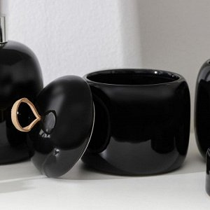 Набор аксессуаров для ванной комнаты Monro, 4 предмета (мыльница, дозатор для мыла 450 мл, стакан, баночка), цвет чёрный