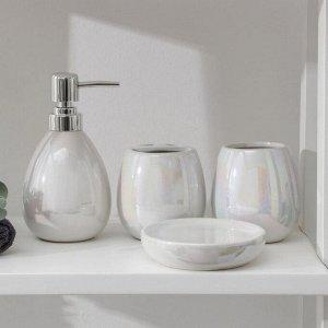 Набор аксессуаров для ванной комнаты Pearl, 4 предмета (мыльница, дозатор для мыла 400 мл, 2 стакана)