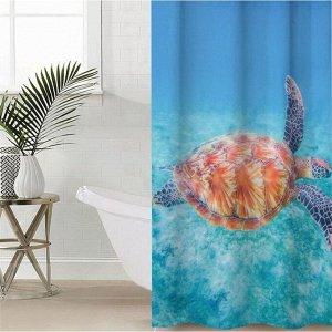 Штора для ванной комнаты «В морских глубинах», 145?180 см, оксфорд
