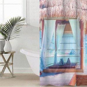 Штора для ванной комнаты «Морской уголок», 145?180 см, оксфорд
