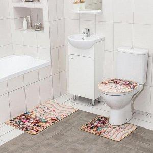 Набор ковриков для ванны и туалета Доляна «Ракушки», 3 шт: 50?80, 50?40, 40?43 см