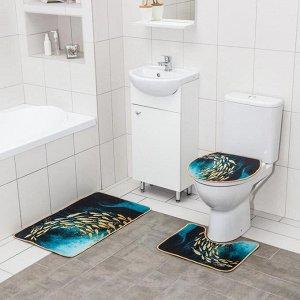 Набор ковриков для ванны и туалета Доляна «Рыбки», 3 шт: 50?80, 50?40, 40?43 см