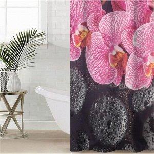 Штора для ванной комнаты «Орхидея на чёрных камнях», 145?180 см, оксфорд