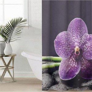 Штора для ванной комнаты «Фиолетовая орхидея», 145?180 см, оксфорд