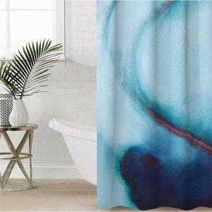 Штора для ванной комнаты «Голубой агат», 145?180 см, оксфорд