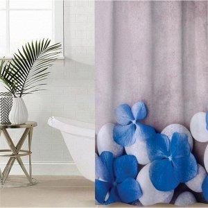 Штора для ванной комнаты «Синяя плюмерия», 145?180 см, оксфорд