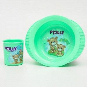 Набор посуды POLLY: кружка 0,2 л., тарелка на присоске, цвет МИКС