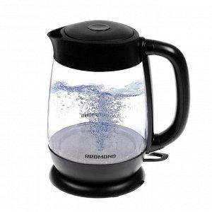 Чайник электрический Redmond RK-G152, стекло, 1.7 л, 2200 Вт, подсветка, чёрный