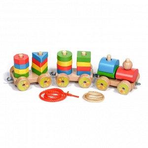 Паровозик Деревянные паровозики любят все - наверняка, у вас в детстве была подобная игрушка. Отдайтесь ностальгии, а заодно порадуйте собственного ребенка этим ярким, качественным поездом каталкой. О