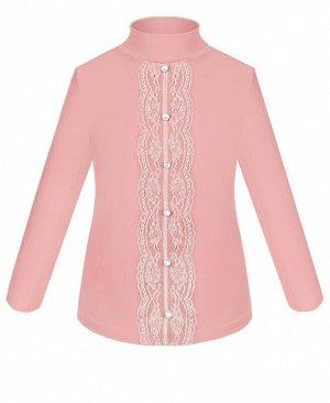 Школьная водолазка(блузка) для девочки с гипюром и пуговицами Цвет: Розовый