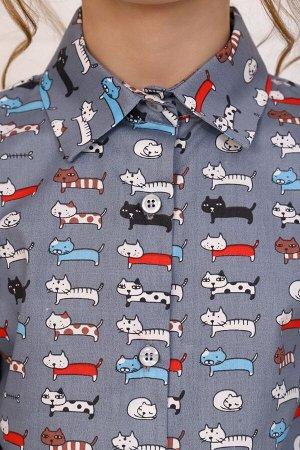 """Рубашка-блузка для девочки """"Коты на сером"""""""